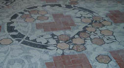 Floor mosaic in the Music room of Institut Pere Mata in Reus, architect Lluís Domènech i Montaner, mosaic by Lluís Brú.