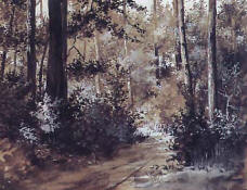 "Riquer: Painting  ""Forest interior"" - watercolour -"